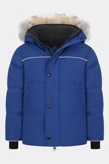 Boys Blue Snowy Owl Parka Coat