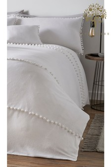 Apple Tree Paignton Pom Pom Brushed Cotton Flannel Duvet Cover And Pillowcase Set