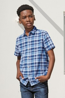 Blue Short Sleeve Check Shirt (3-16yrs)