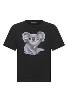 Kids Black Cotton Jersey T-Shirt