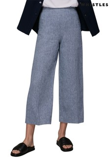 Whistles Chambray Linen Cropped Trousers