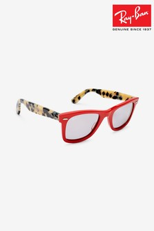 Ray-Ban Red Tortoiseshell Polarised Lens Wayfarer Sunglasses