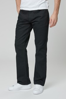 Solid Black Bootcut Fit Jeans With Stretch