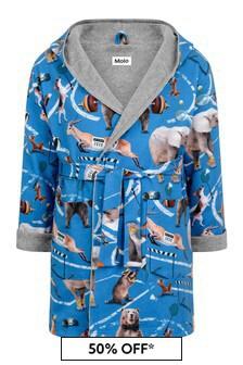 Boy's Blue Organic Cotton Athletic Animals Bath Robe