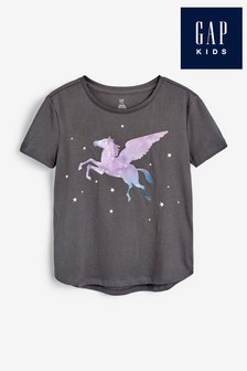 Gap Black Interactive Unicorn Graphic T-Shirt