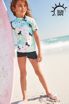 Tie Dye Unicorn Sunsafe Top And Shorts Two Piece Set (3-16yrs)