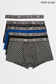River Island Blue Medium Script Foil Monogram Hipsters 5 Pack