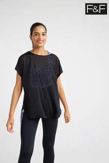 F&F Blue Blurred Floral 2 In 1 Crop T-Shirt
