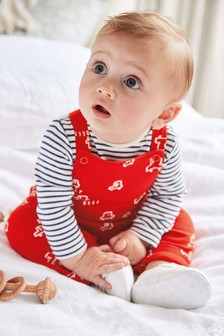 Red GOTS Organic Car Dungarees And Bodysuit Set (0mths-3yrs)