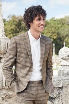 Stone Skinny Fit Linen Blend Check Suit: Jacket