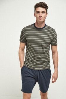 Khaki Fine Stripe Pyjama Set