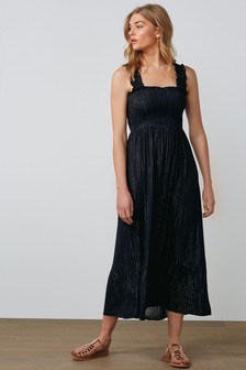Black Shirred Bodice Maxi Dress