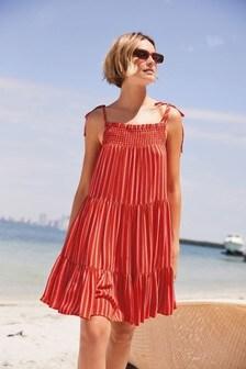 Red Stripe Tiered Mini Dress
