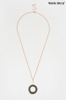 White Stuff Wicker Circle Pendant Necklace