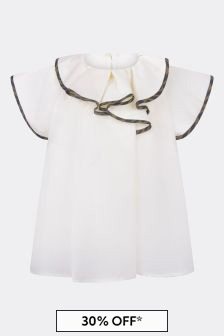 Girls White Cotton Ruffle Blouse