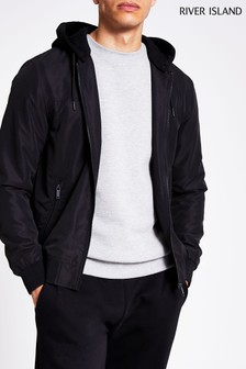River Island Black Hooded Bomber Jacket