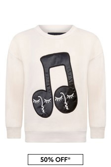 Kids Ivory Organic Cotton Note Patch Sweater