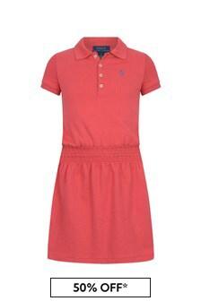 فستان بولو قطن أحمر بناتي
