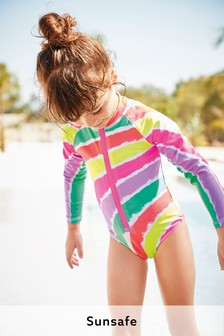 Tie Dye Rainbow Long Sleeve Sunsafe Swimsuit (3mths-7yrs)