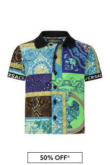 Versace Baby Boys Blue Cotton Shirt