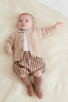 Neutral 4 Piece Smart Bodysuit, Short, Knitted Cardigan And Sock Set (0mths-3yrs)