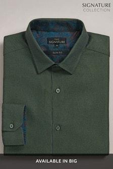 Green Slim Fit Signature Herringbone Shirt