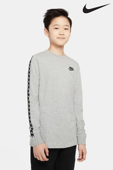 Nike Grey Taped Long Sleeve T-Shirt