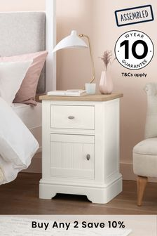 Chalk Hampton Storage 1 Drawer Bedside Table