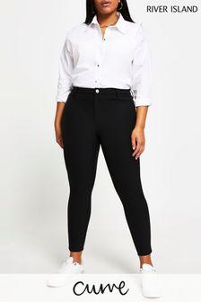 River Island Plus Black Molly Techno Trousers