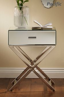 Pacific Lifestyle Silver Mirrored Glass Metal 1 Drawer Unit