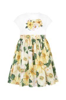 Dolce & Gabbana Kids Girls White Cotton Dress