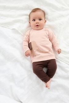 Chocolate Elephant Sweatshirt And Rib Leggings Set (0mths-2yrs)