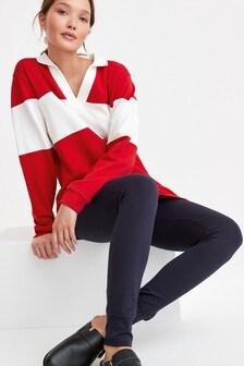 Red With White Stripe Rugby Pyjama Set