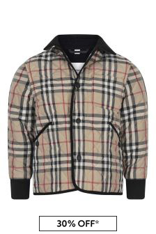 Boys Beige Vintage Check Quilted Jacket