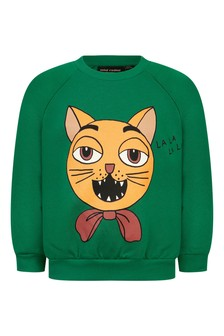 Kids Green Organic Cotton Cat Choir Sweater