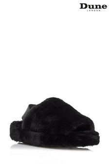 Dune London Black Wynnie Fluffy Mule Slingback Slippers