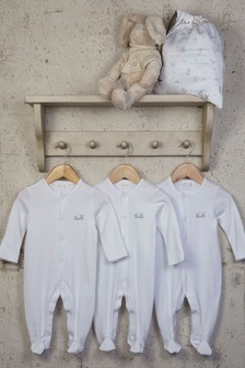 The Essential One Essential White Unisex Baby Sleepsuits Three Pack
