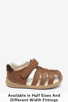 Tan Wide Fit (G) Leather First Walker Fisherman Sandals