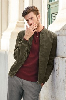Fawn Cord Bomber Jacket