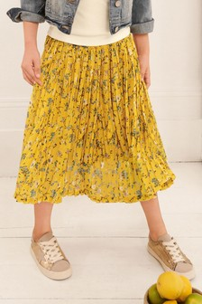 Yellow Floral Pleated Skirt (3-16yrs)