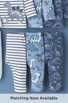 Blue 3 Pack Dinosaur Leggings (0mths-3yrs)