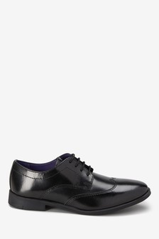Black Leather Formal Lace-Up Shoes (Older)