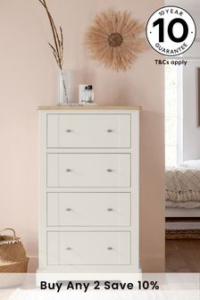 Chalk Hampton Country Luxe Painted Oak 4 Drawer Chest