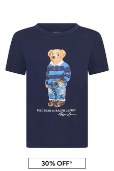 Boys Navy Cotton Jersey Bear T-Shirt