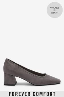 Grey Square Toe Block Court Shoes