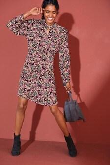 Butterfly Print V-Neck Collar Dress