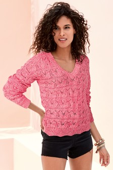 Bright Pink V-Neck Stitch Jumper