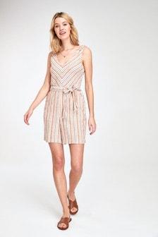 Neutral Stripe Linen Blend Playsuit