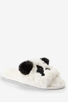 White/Black Panda Recycled Faux Fur Sliders