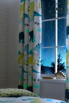 Bedlam Dino Glow In The Dark Curtains